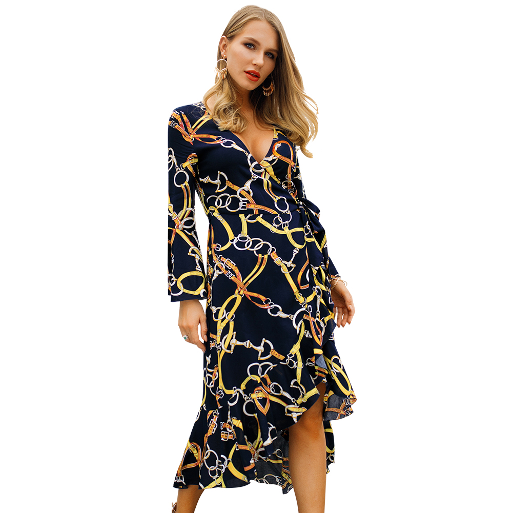 Kandiny - 2019 spring long sleeve V-neck fashion dress