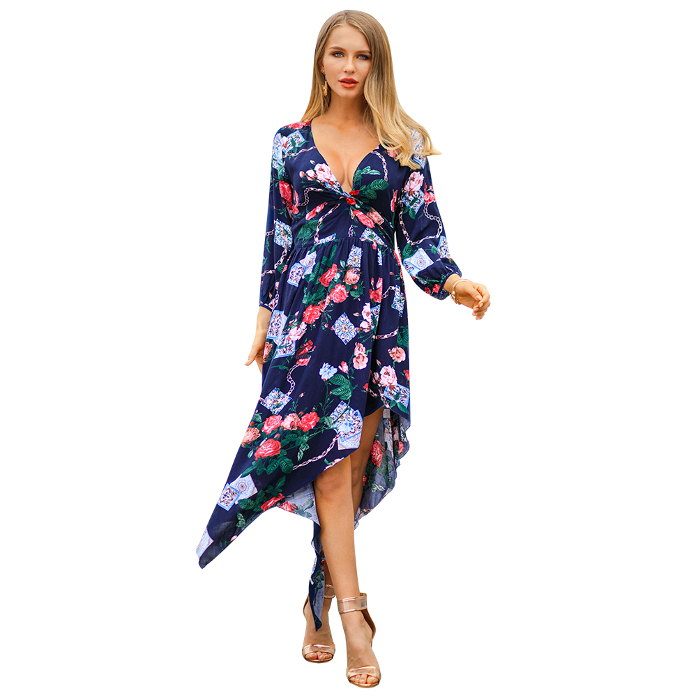 Kandiny - 2019 new spring print V-neck dress