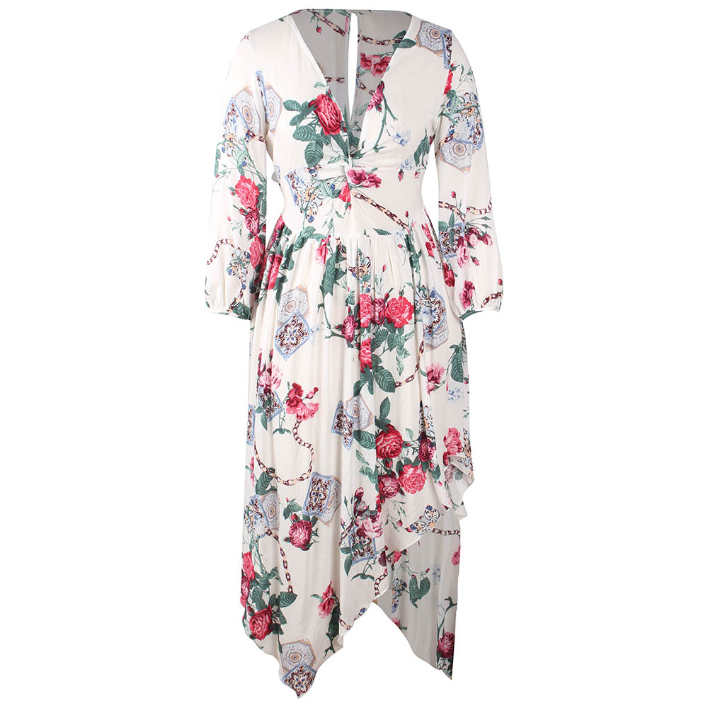 Kandiny - 2019 new spring white print V-neck dress