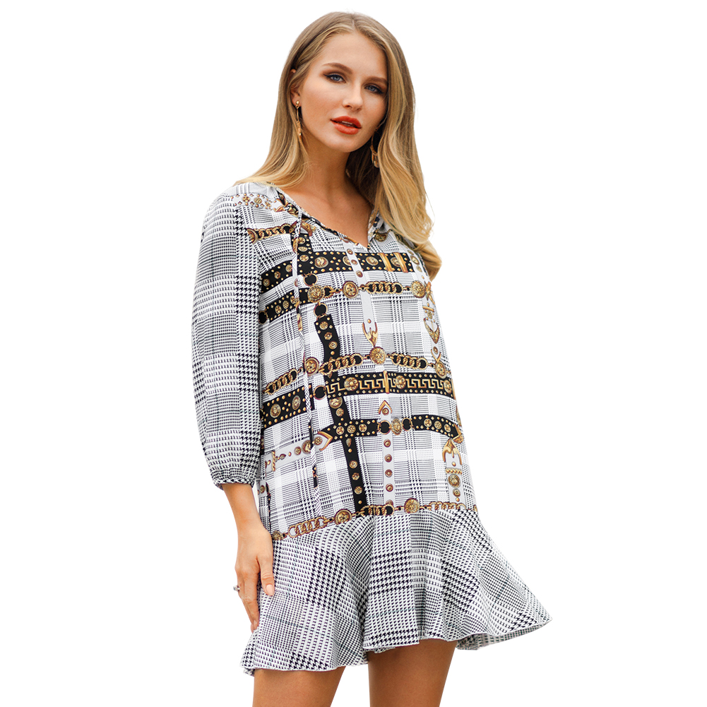 Kandiny - Hot early spring new V-neck short dress