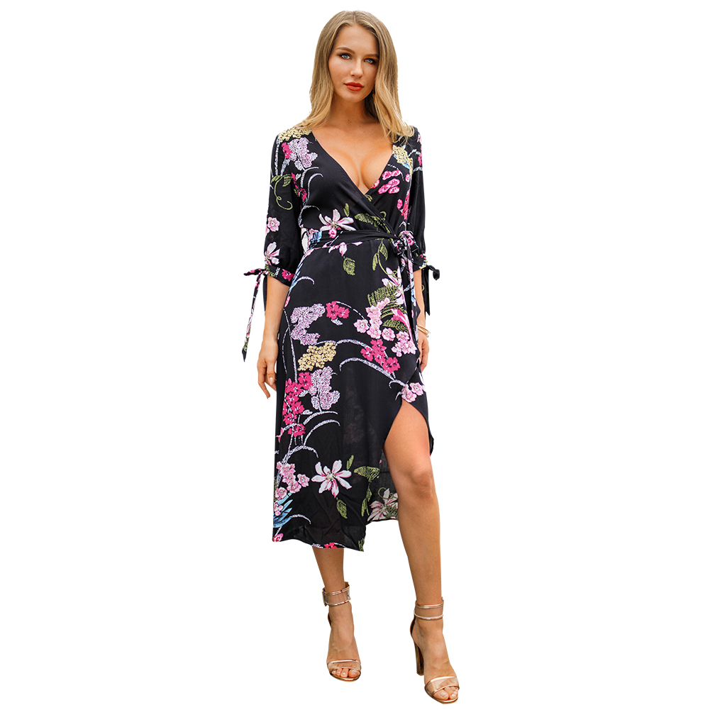 Kandiny - New printed sleeves V-neck elegant dress