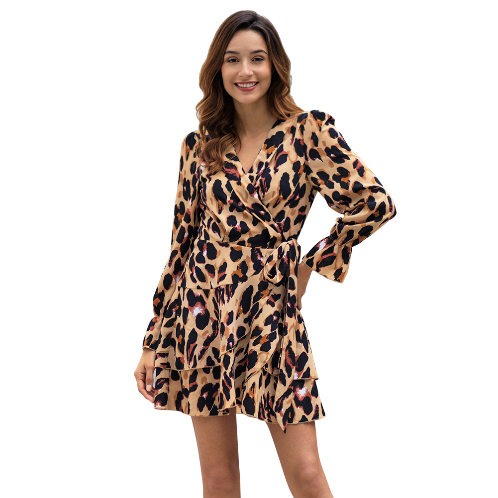 Kandiny - Leopard Print Long Sleeve Sexy Dress