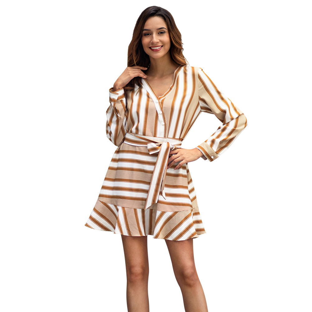 Kandiny - New beige striped long sleeve V-neck dress