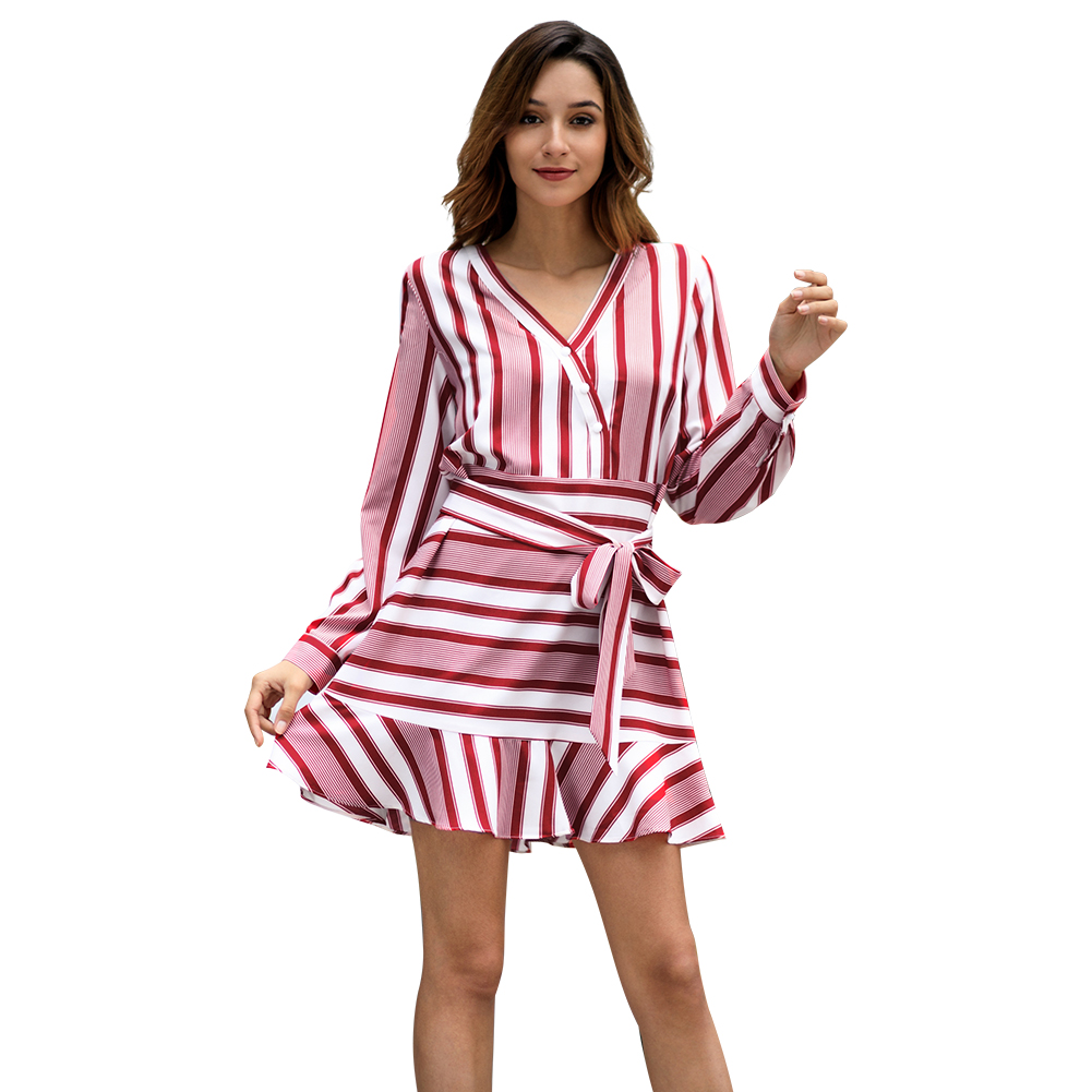 Kandiny - 2019 new striped long-sleeved V-neck dress
