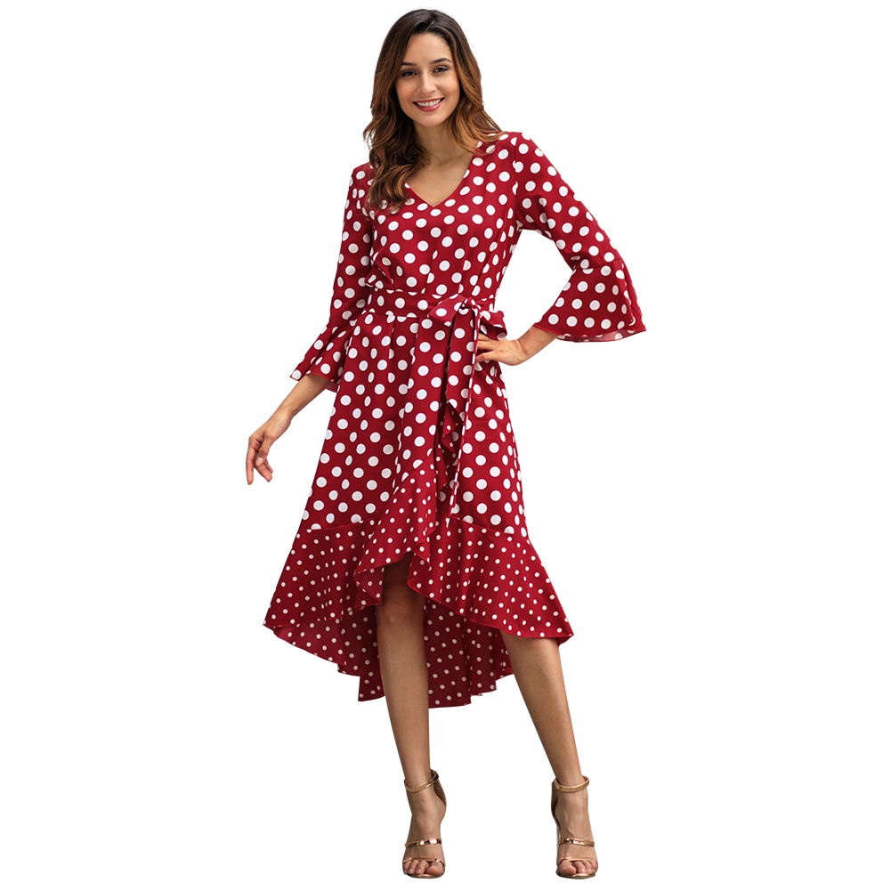 Kandiny - Spring new wave red long sleeve large size dress
