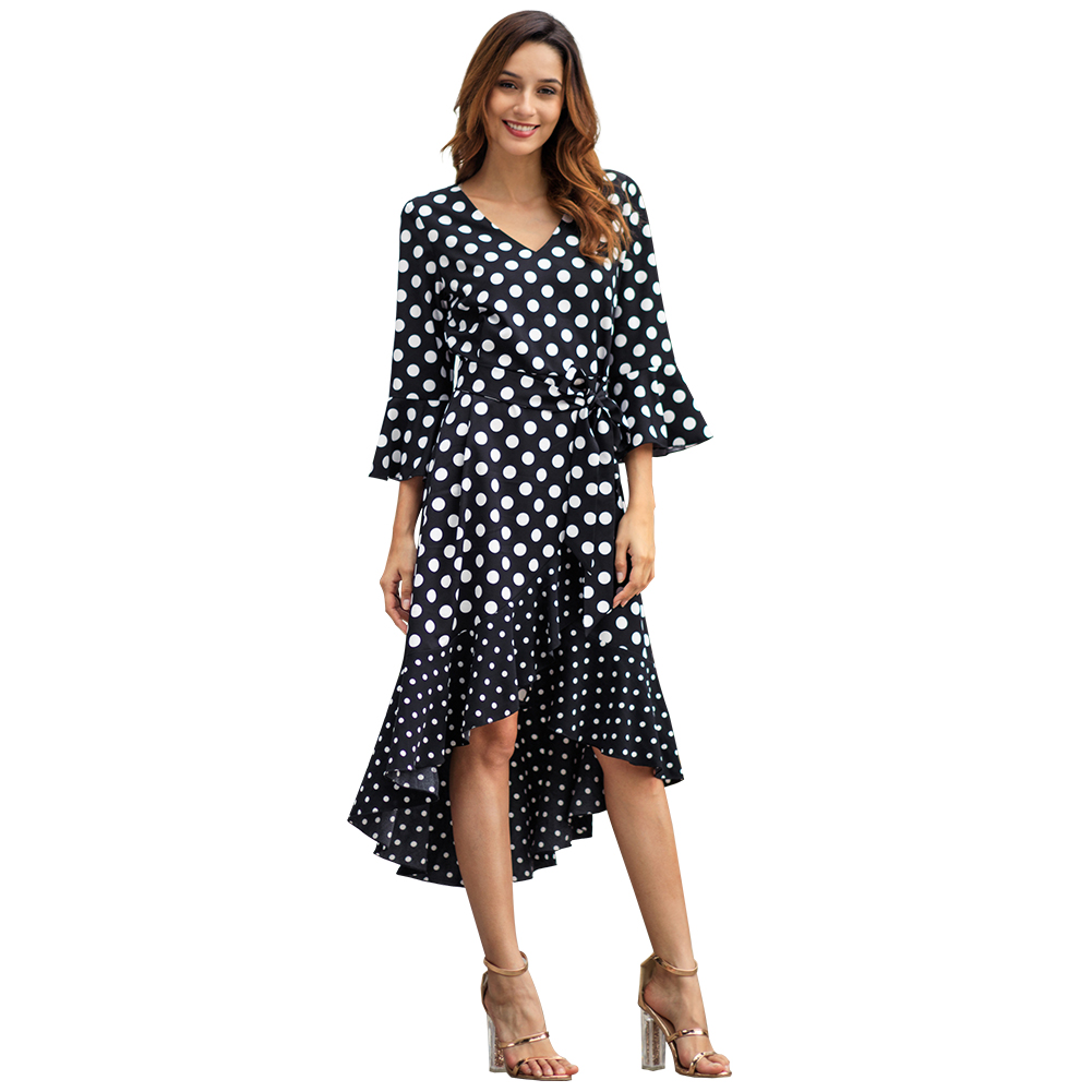 Kandiny - Spring new black wave long sleeve large size dress
